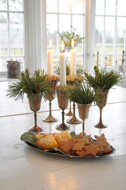 diy idea:  goblets(glasses) of greenery