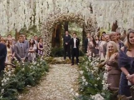 A wedding in the woods with tons of flowers hanging down.  Any brides want to have this type of wedding so I can photograph it!? (yes, this is from twilight!)