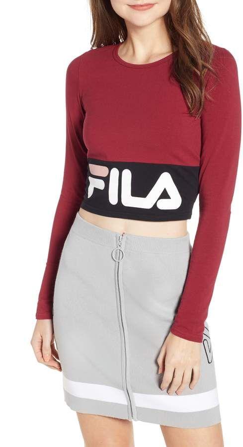 d395f119 FILA Maria Logo Crop Top | Best Fila Shoes and Fila Shoes Outfit ...