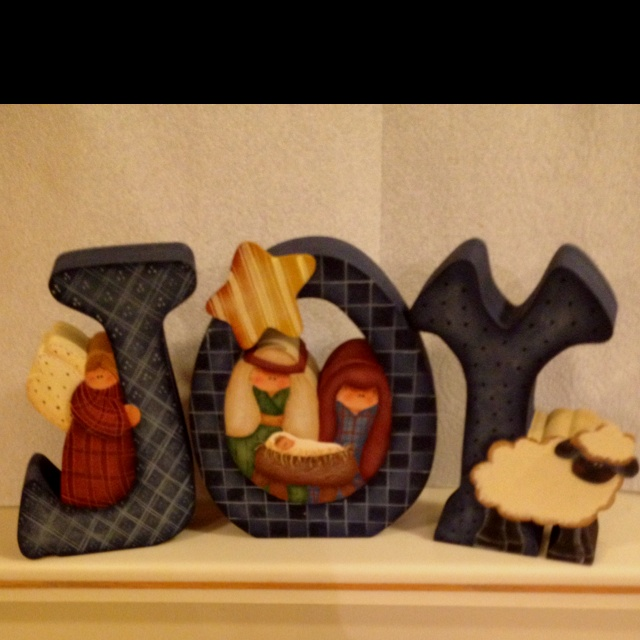 JOY Nativity Letters. These are so cute. I wonder if I could make them.