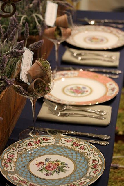 Crystal and Crates Vintage Rentals has beautiful mixed China including tea cups!