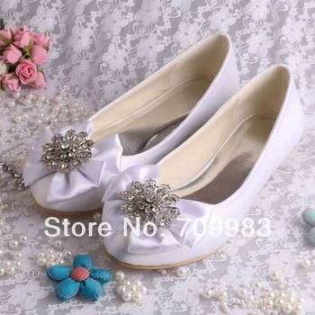 High Quality Satin White Wedding Bridal Flats Ballet Casual Shoes with Big Bows Free Shipping-in Flats from Shoes on Aliexpress.com