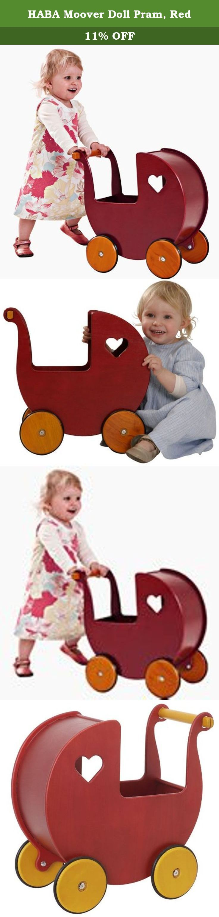 HABA Moover Doll Pram, Red. Your little darling is sure to fall in love with this Doll Pram by Moover Toys. This beautifully made doll carrier will encourage your child to look after their dolls and keep them safe. The wooden wheels and rubber tires allow for both indoor and outdoor use. All Moover toys are crafted from sustainable sources with today's environmentally conscious parent in mind. It is delivered assembled. Ideal for children ages 2 to 3.