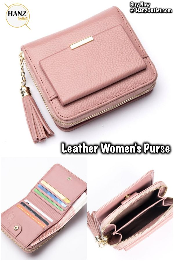 100% Leather Women's Purse Zipper Coin Pocket Wallet Card Holder Female Money Bag