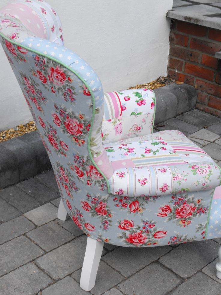 Side view of the patchwork chair using Cath Kidston heavy weight cotton. Created by Liberty Rose Interiors