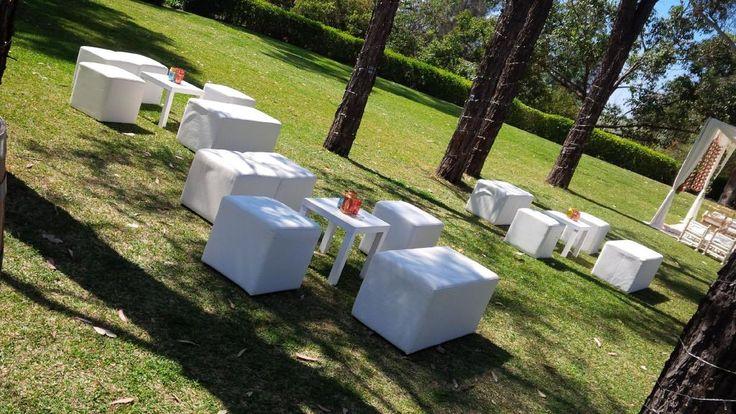 CJ and Arv's beautiful #outdoor #wedding reception on the #Tamburlaine lawn #Hindu #SriLankan ceremony. white #ottomans