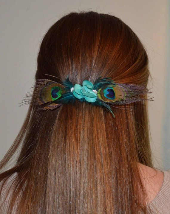 Large peacock feather french hair clip with teal by LovelyDawn