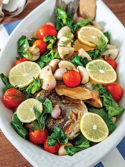 Ispanaklı ve mantarlı çipura Tarifi - Türk Mutfağı Yemekleri - Yemek Tarifleri