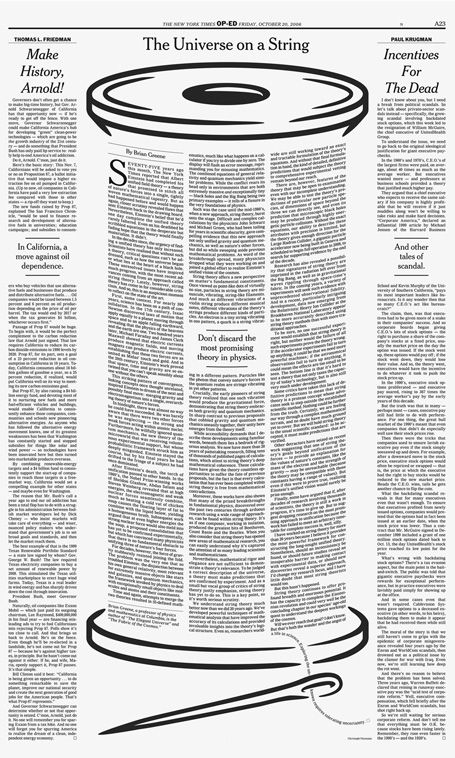 This newspaper is good because of its creativity aspect. The words formatted on the string make the article look much more appealing to the eye. It also takes up a substantial amount of space. Something strikingly wrong with this layout though is the fact that the words are not straight. The crookedness of the lines takes away from a good newspaper layout.