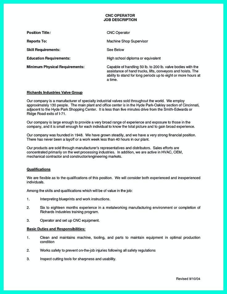 cnc machine operator resume templatebillybullock machine operator job description
