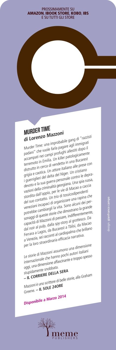 "Lorenzo Mazzoni  - Murder Time ""do not disturb"" bookmark back - meme publiahers ©2014"