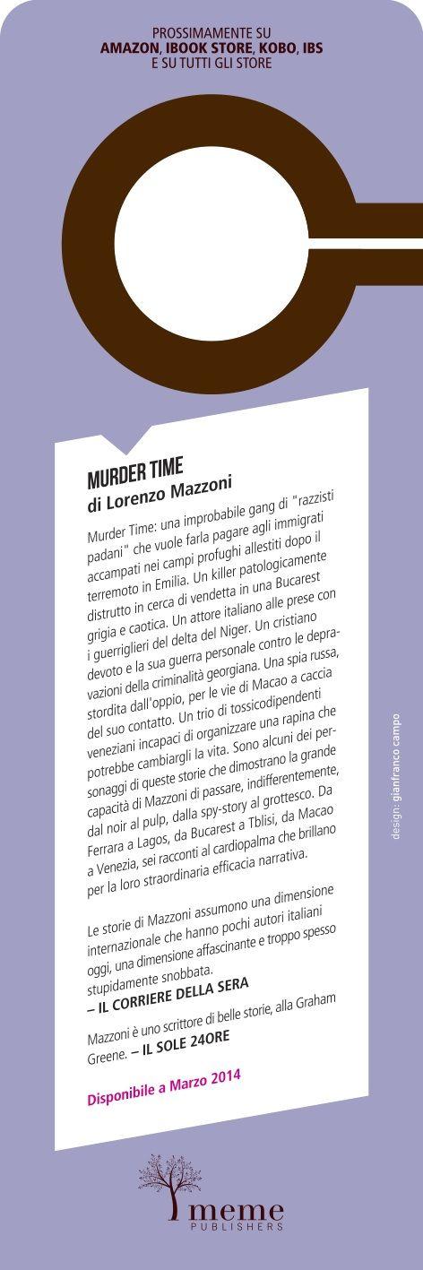 "Lorenzo Mazzoni  - Murder Time ""do not disturb"" bookmark back - meme publiahers ©2014"