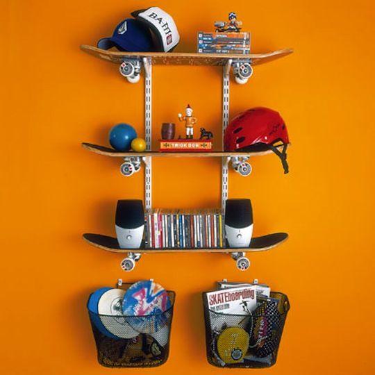 For my boys' vaROOOOOM!: Skateboard Shelves, For Kids, Boys Rooms, Boy Rooms, Storage Ideas, Diy, Skateboard Shelf, Crafts, Kids Rooms