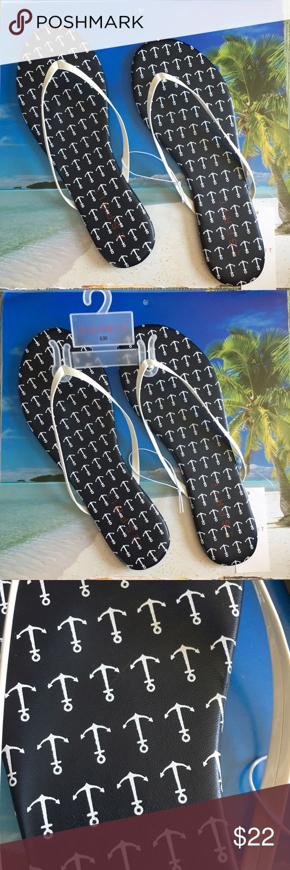 NWT Navy & White Nautical Anchor Flip Flops These are so cute, wish they were my size. I only have 2 sizes 8.5 & 8 in Women's. Navy blue with white anchors and white straps. NWT. Some padding on footbed. Just in time for the warmer weather. Select your size. espirit Shoes Sandals