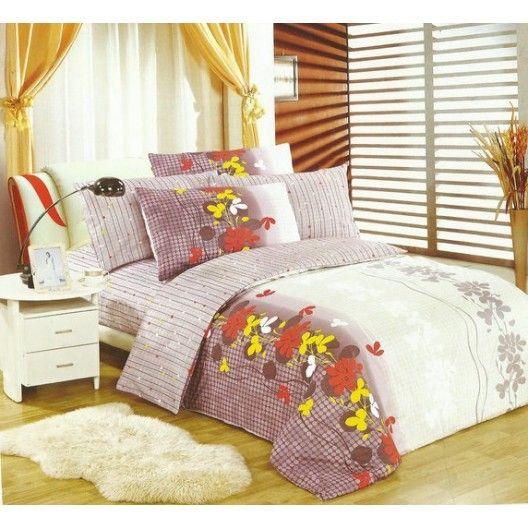 Biele obliečky na postele s farebnými kvietkami