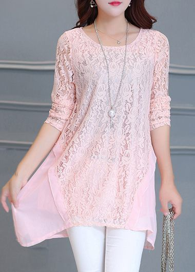 Round Neck Long Sleeve Pink Blouse  on sale only US$25.01 now, buy cheap Round Neck Long Sleeve Pink Blouse  at lulugal.com