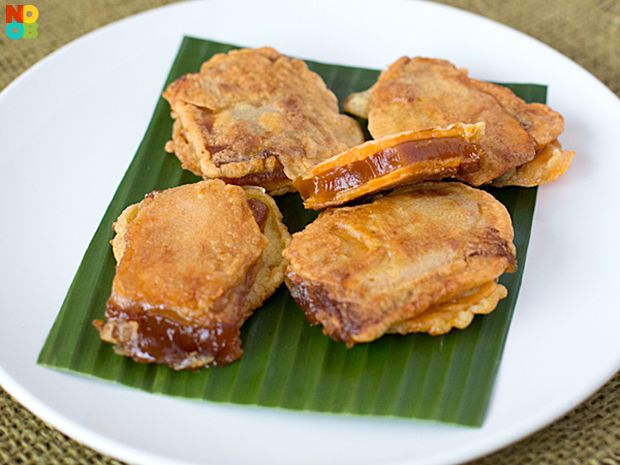 "Leftover nian gao (tikoy)? Try this easy nian gao sweet potato ""sandwich"" recipe."