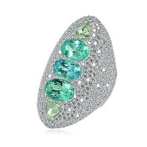 Sutra multi-coloured Paraiba tourmaline ring in white gold with diamonds. www.kristoffjewelers.com