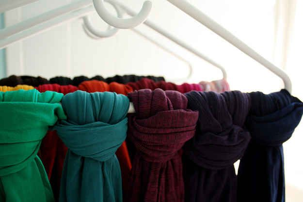 Tie your scarves and stockings to hangers for easy storage. | 27 Life Hacks Every Girl Should Know About