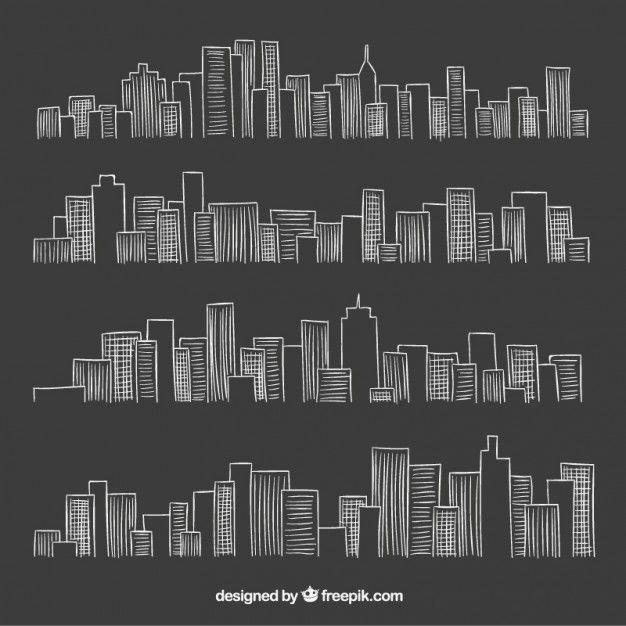 Skyline da cidade no estilo negro