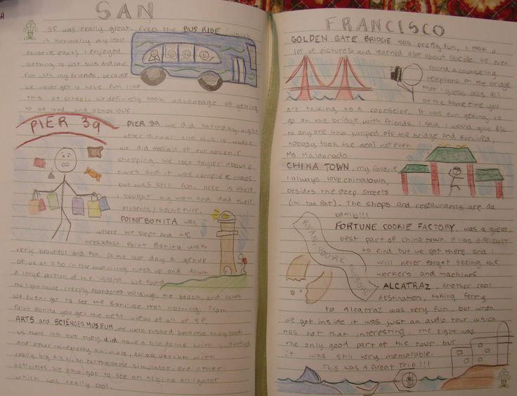"""8th grader Ryan wins a """"Mr. Stick of the Year"""" writer's notebook award for this two-page tribute to our three-day field trip to San Francisco this May.  Ryan, for all three years that I have been lucky enough to have you as my student, you have always kept an amazing writer's notebook.  Don't EVER lose any of them. THANK YOU for inspiring me to keep even better notebooks than I have. Check out my Mr. Stick resources online at my website: http://corbettharrison.com/Mr_Stick.html"""