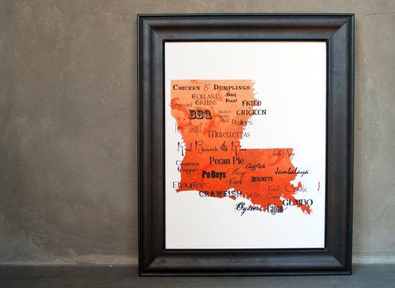 Best of Louisiana Cuisine Word Art 11x14 on by designedbydallas