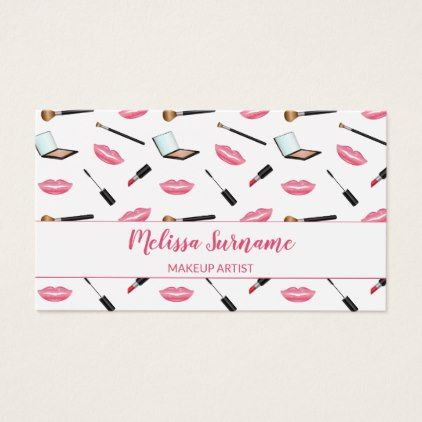 Makeup With Pink Lips Makeup Artist Personalized Business Card - artists unique special customize presents
