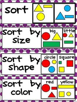 Kindergarten Common Core Math Vocabulary Word Wall Cards - this reminded me that sorting is a good math skill for preschool age and can be fun too!