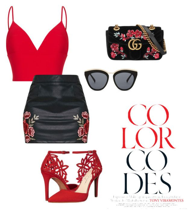 """Untitled #42"" by hfirlyana on Polyvore featuring Rasario, Jessica Simpson, Gucci and Le Specs"