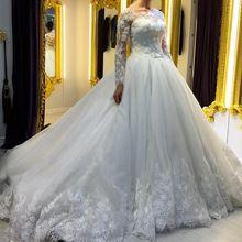 Muhteşem 2016 yeni varış aplikler dantel robe de mariage vestido de noiva tam kollu topu örgün düğün gelin elbise(China (Mainland))