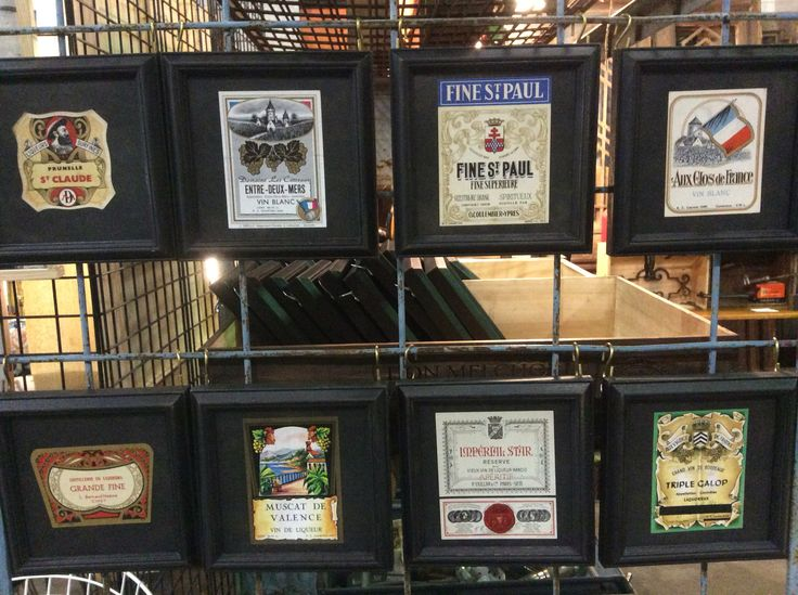 Framed vintage European wine and liquor labels. What a great gift for a wine lover! #vintage #antique #decor #interiordesign #wine #art #graphics
