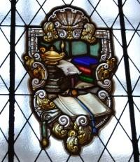 Detalle de una de las vidrieras de la Biblioteca