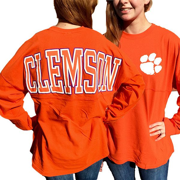 South Carolina Clemson Tigers Women's Logo Sweeper Long Sleeve Oversized Top Shirt