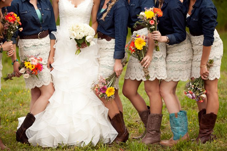 Rustic, DIY country wedding. These dresses & denim jackets are adorable! And Bridesmaids bouquet (Wrap with leather or denim wrap with a single leather strap to match groomsmen attire)