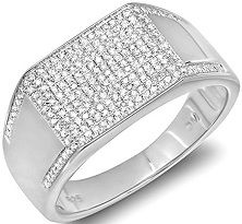 #Jewelry 0.85 Carat (ctw) Platinum Plated Sterling Silver Round Cut Diamond Mens Flashy Hip Hop Pinky Ring