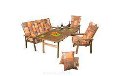 <strong>Masszív, keményfa kerti bútor</strong>unk akár teraszra, étterem, pizzéria vagy bisztró teraszára is kitűnő választás.  RELAX <strong>akácia akciós kerti asztal 100 x 140/200 cm</strong> + pad+kerti fotelek + párnák választható színben.