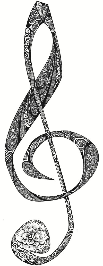 Illustrations by Freddie Denton, via Behance   treble clef zentangle kate  music