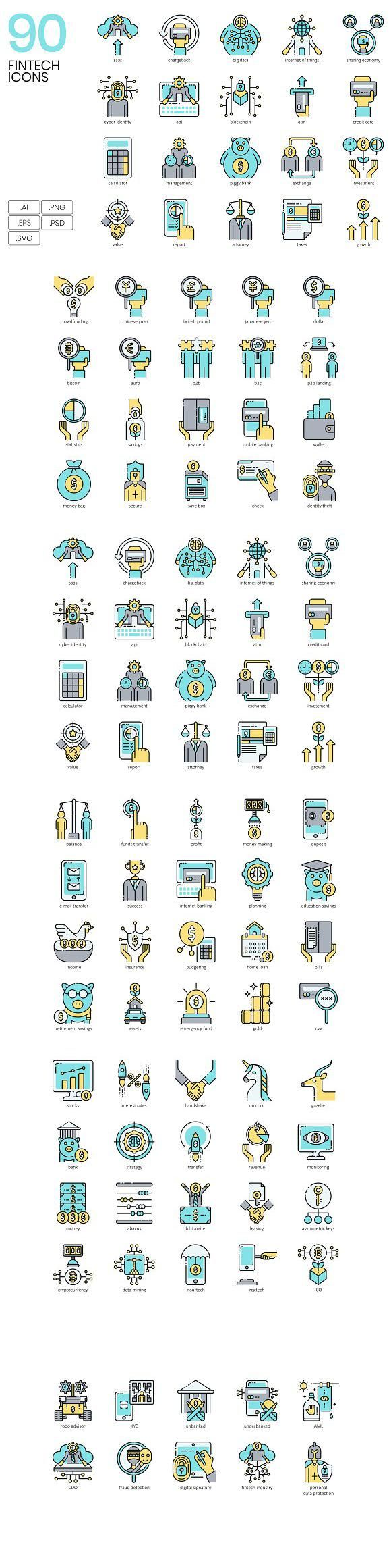 90 Finance Technology Icons for $14.00 #icon #technology #IconDesign #TechnologyIcons #icons #IconSet #CreativeMarket #graphicdesign #design #graphics…