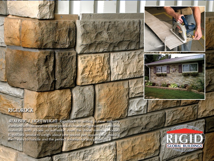 RigidRock is setting a new industry standard with decorative stone products made of lightweight synthetic materials with a look so authentic even the stone mason is fooled  RigidRock products weigh about one pound per square foot, making them easy to handle and the perfect solution for any project..
