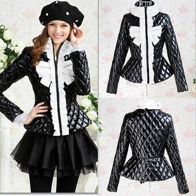 zwarte ruches rand buigen volledige mouw vrouwen afslanken & ParkSA jassen winter nieuwe mode bovenkleding