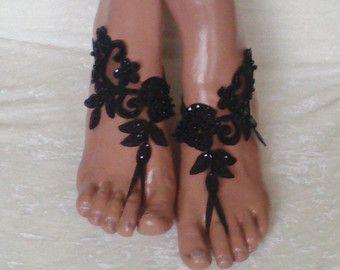 Oro negro zapatos de la playa diseño único por GlovesByJana en Etsy