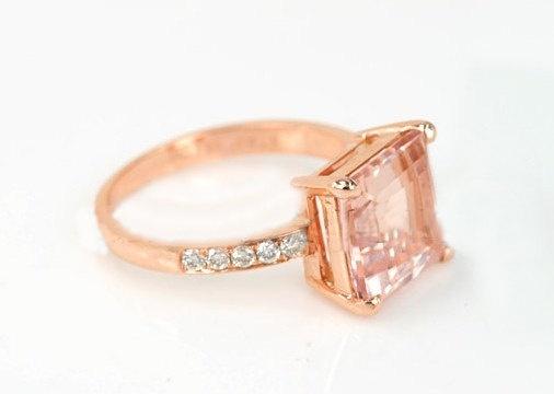Engagement Ring - 2 Carat Morganite Ring With Diamonds In 14K Rose Gold. $499.00, via Etsy.