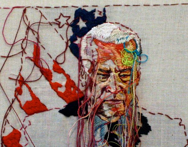 California-based artist Lauren DiCioccio hand-embroiders her pieces based off of imagery seen in old issues of The New York Times. From Gerald Ford's Funeral to Lady Gaga on the cover of The Arts section, DiCicoccio focuses her attention on the tangible beauty of printed news and media.