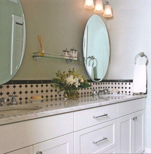 Furniture Enthralling Hanging Mirror Over Bathroom Vanity Using Beveled  Edge Beside Glass Floating Shelves Above White