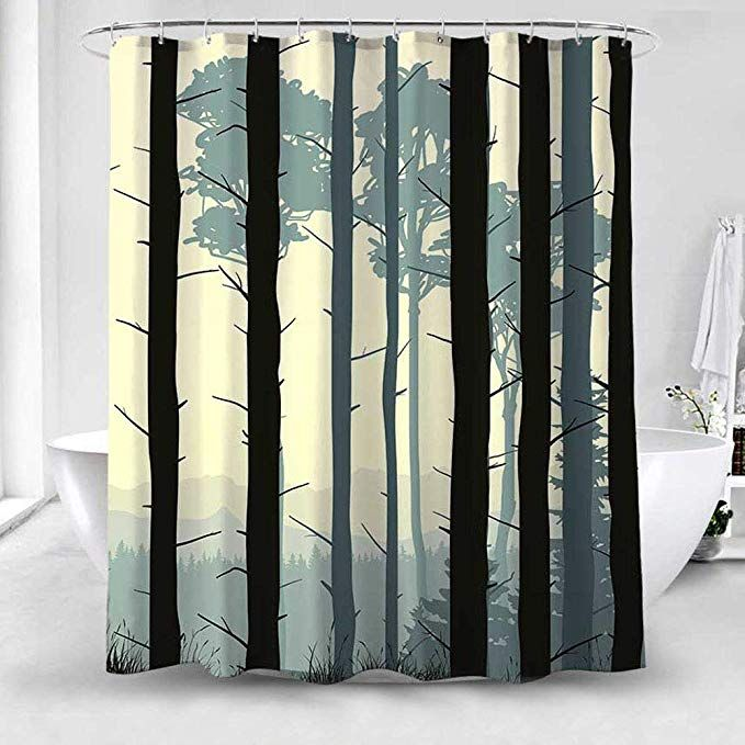 Amazon Com Broshan Shower Curtain Polyester Fabric Abstract Birch Tree Forest Bedding Bath Fabric Shower Curtains Curtains Shower Curtain