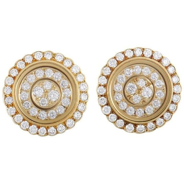 Preowned Waltham Diamond Yellow Gold Screw Back Earrings ($3,600) ❤ liked on Polyvore featuring jewelry, earrings, stud earrings, yellow, screw back earrings, yellow gold stud earrings, gold diamond earrings, circle diamond earrings and yellow gold earrings