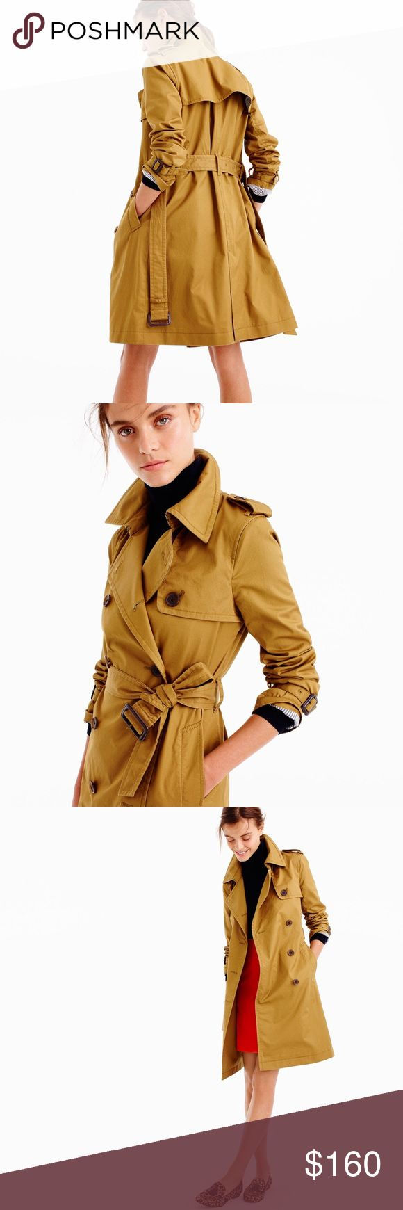 "J.Crew • classic dark khaki trench coat Complete an outfit with this lightweight trench coat by J.Crew. Features front double-breasted button closure, navy striped lining and removable belt. Size 8 may run slightly large due to relaxed fit. Outer fabric is 100% cotton. In new condition.   Measurements laying flat:  • Length: 37 1/2""  • Bust: 19 1/2"" (length from L to R armpit)  • Sleeve length: 24 1/2""  Please don't hesitate to ask questions. ❥ J. Crew Jackets & Coats Trench Coats"