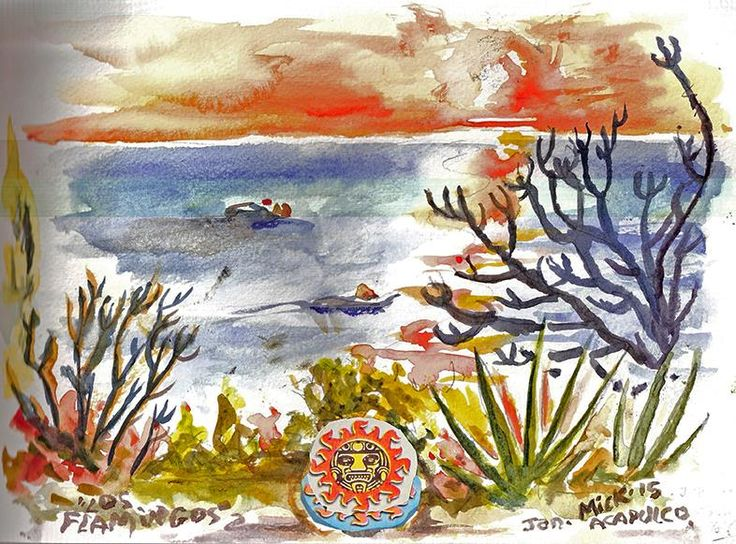 My watercolour of the view from Hotel Los Flamingos, Acapulco