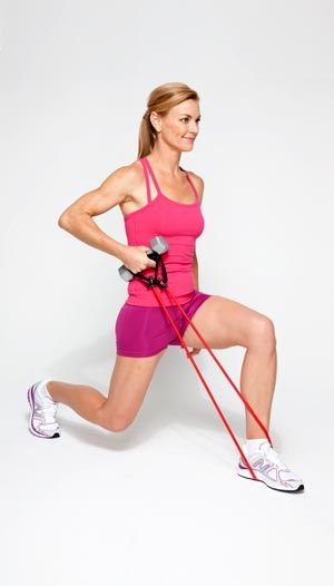 Lunge with Single-Arm Row: Stand on middle of band with left foot, holding both handles and a dumbbell in right hand. Step back with right foot. Bend right knee toward floor and draw dumbbell and handles toward right armpit. Hold; return to start. Complete set; repeat on opposite side. Do 2 sets of 10 reps.