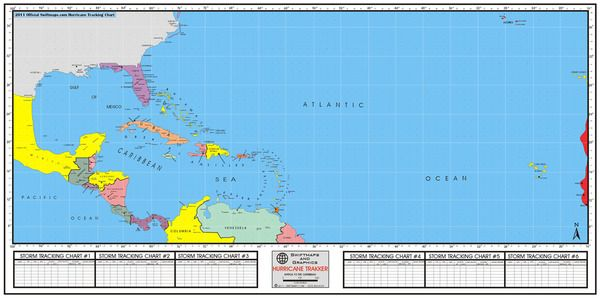 Hurricane Tracking Map Color Wall Map